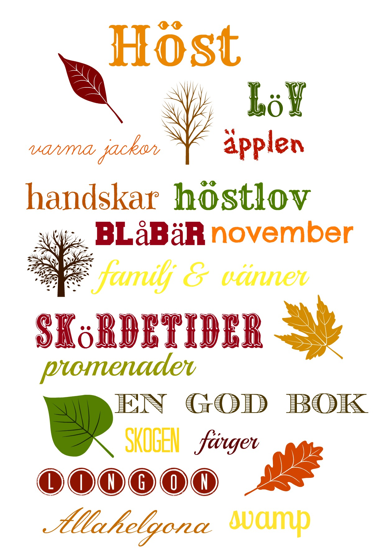 Swedish fall vocabulary